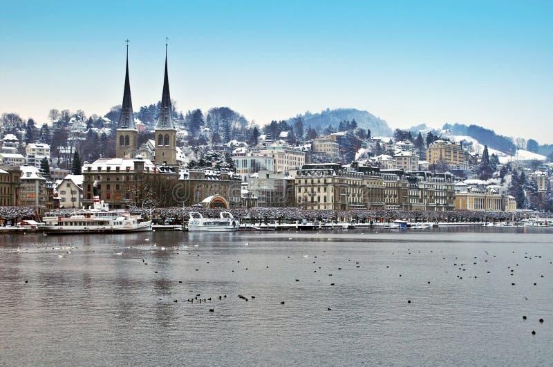 Beautiful Hofkirche in winter Lucerne stock photo