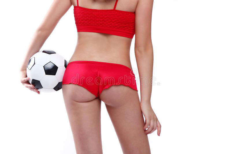 Beautiful Holding a Soccer Ball on White Backgound royalty free stock photography