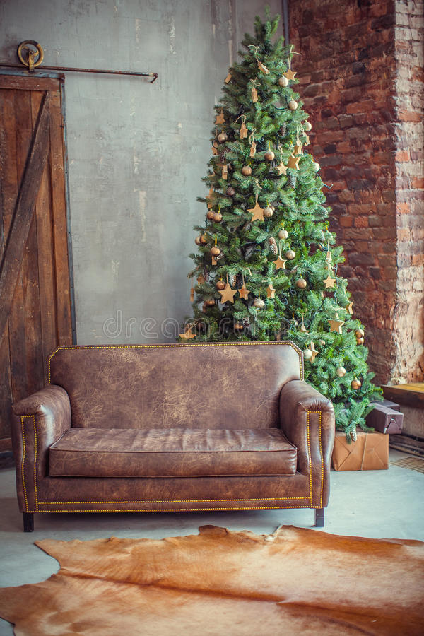 Beautiful holiday decorated room with Christmas tree royalty free stock photo
