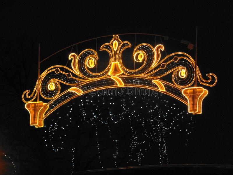 Beautiful holiday lights in the night city. Very beautiful holiday lights in the night city royalty free illustration