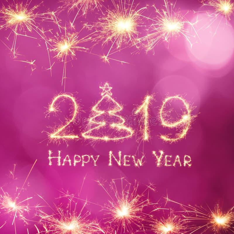 Beautiful holiday web banner Happy New Year 2019 royalty free stock photo