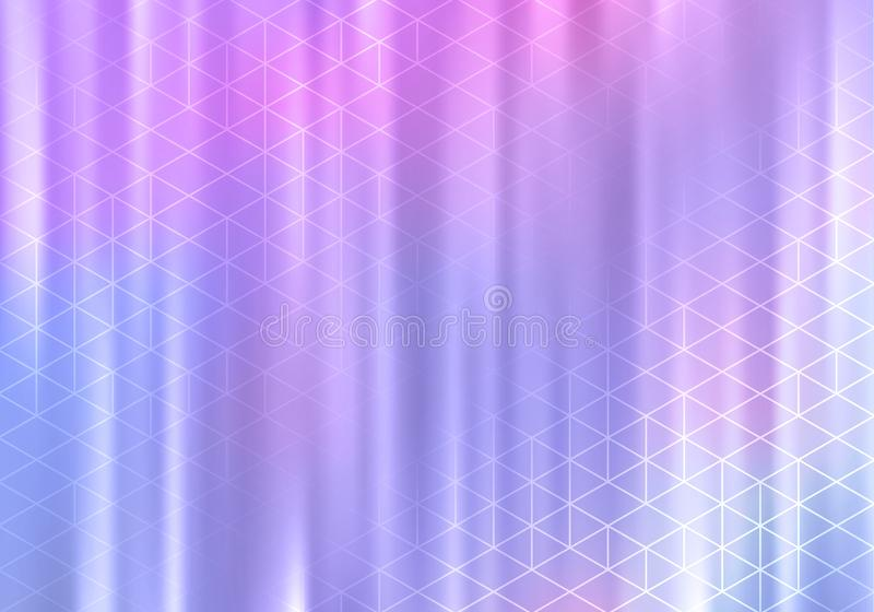 Beautiful Holographic Bg with Geometric Lines. Elegant Vector Banner. stock illustration