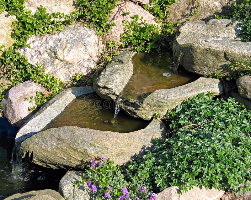 Beautiful home garden waterfall. Beautiful decorative home garden stone waterfall royalty free stock photos