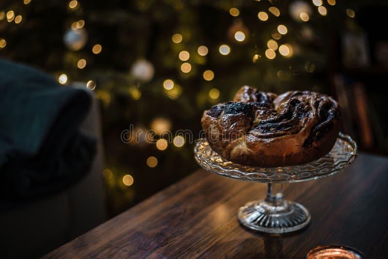 Beautiful homemade chocolate wreath as an idea for a perfect Christmas breakfast. stock photos