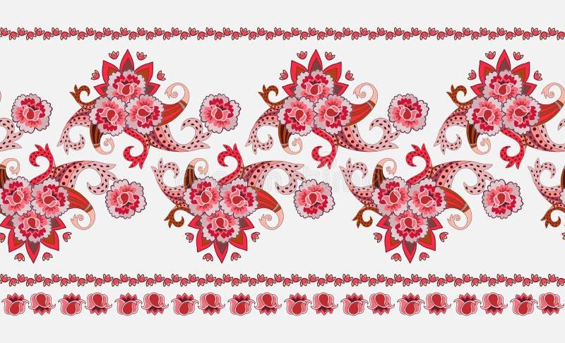 Beautiful horisontal border in ethnic style. Stylized roses, tulips and paisley ornament on white background. Vector illustration stock illustration
