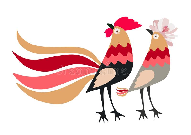 Beautiful horizontal card with stylized chickens - funny rooster and hen, isolated on white background in vector stock illustration