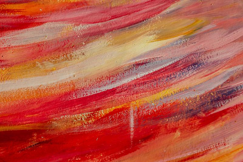 Beautiful horizontal texture painted in orange and red colors looks like sunset or sunrise stock photo