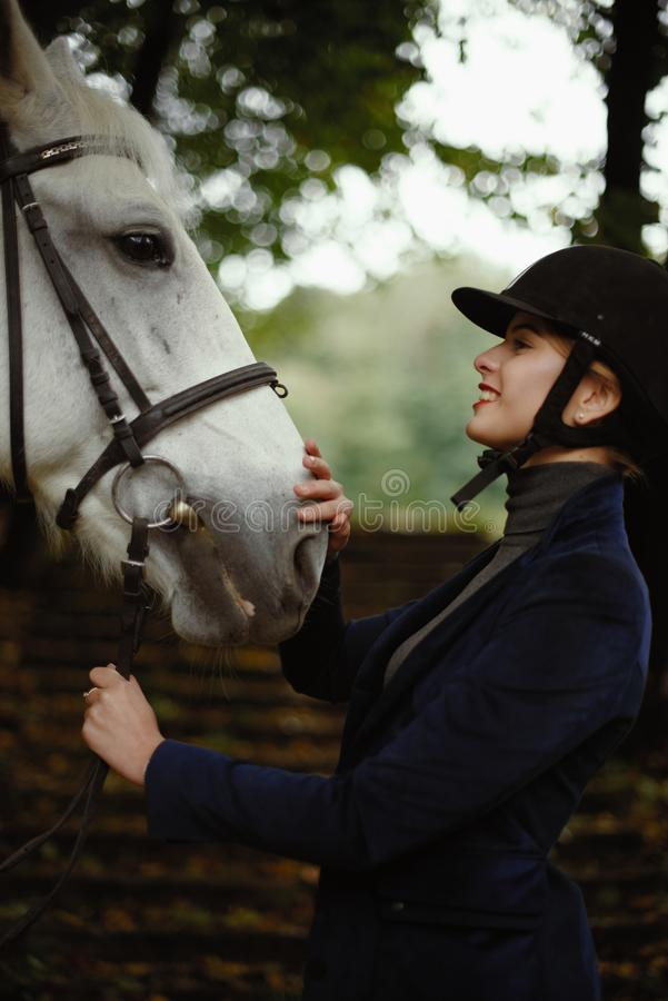 Beautiful horsewoman in blue jacket strokes white horse. royalty free stock image