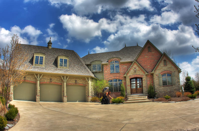 Beautiful house. An hdr photo of a mansion during winter royalty free stock photo