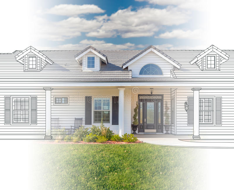 House Blueprint Drawing Gradating Into Completed Photograph. Beautiful House Blueprint Drawing Gradating Into Completed Photograph royalty free stock images