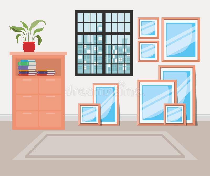 Beautiful house corridor place scene. Vector illustration design vector illustration