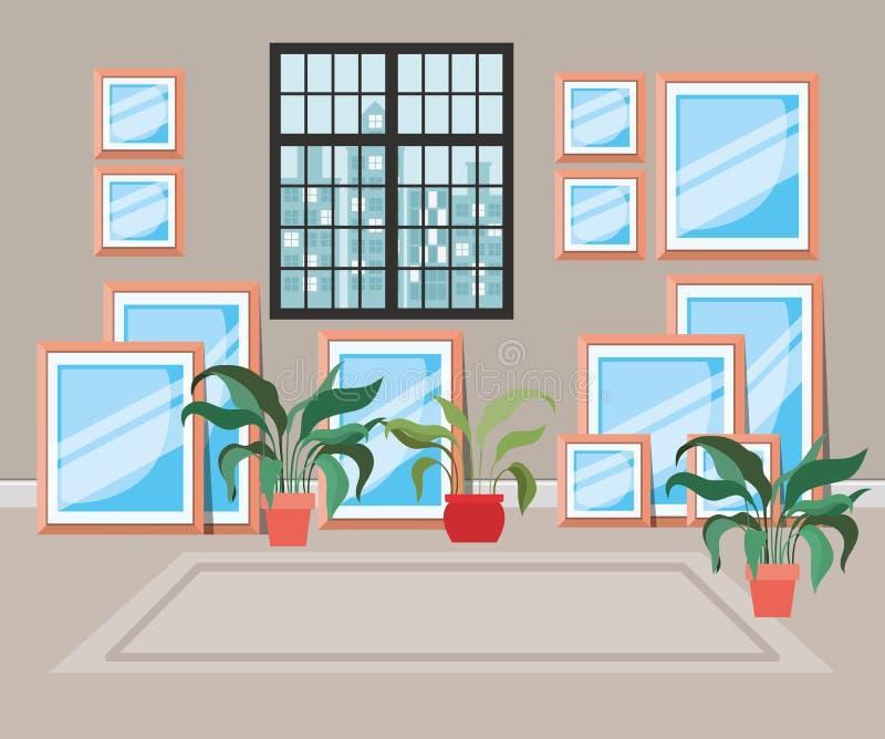 Beautiful house corridor place scene. Vector illustration design royalty free illustration