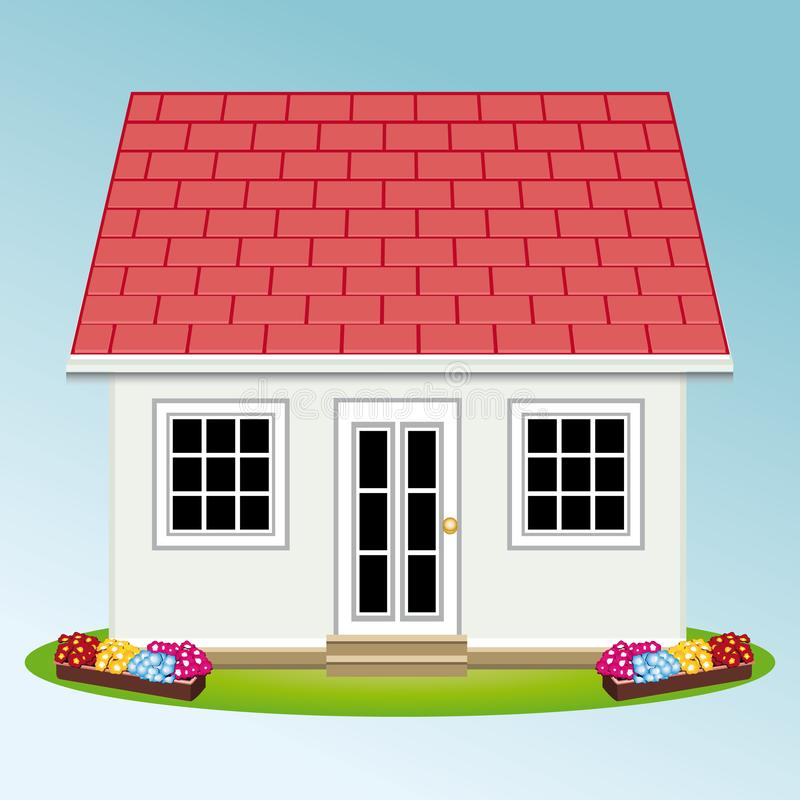Beautiful house with garden. Property. Real estate. Vector illustration II stock illustration