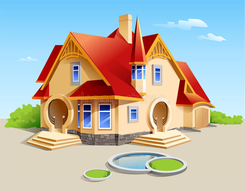 Beautiful House Illustration. Illustration of a beautiful house with the pool and landscape vector illustration