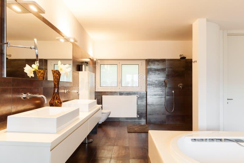 Beautiful house. Beautiful interiors of a modern house, bathroom royalty free stock photo