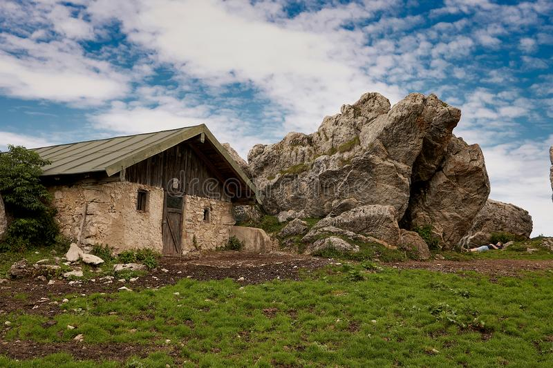 Beautiful house on Kampenwand in Bavaria Alps in Summer royalty free stock photo