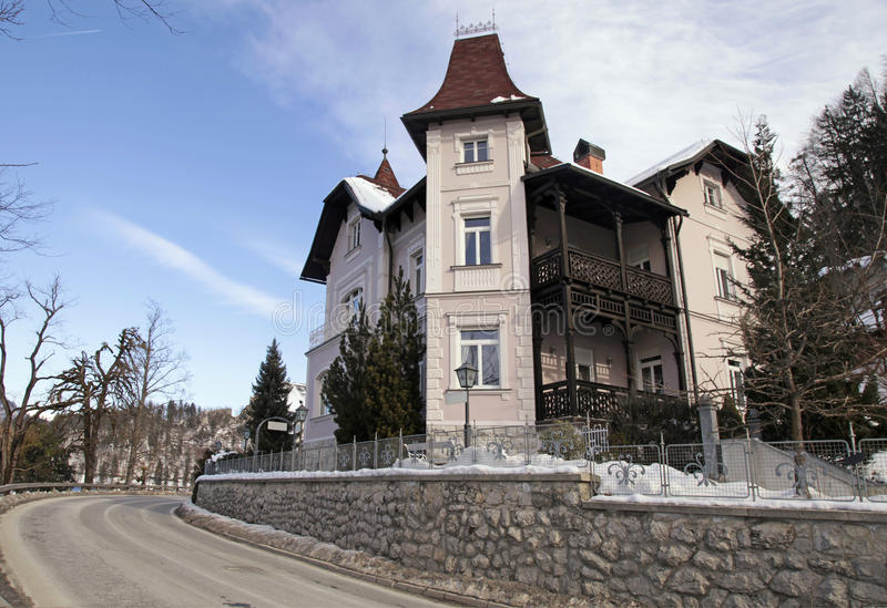 Beautiful house on Lake Bled resort, Slovenia royalty free stock photography