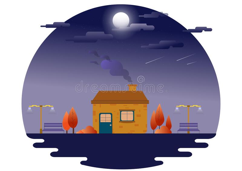 A beautiful house at night. Bright moon and shooting star. Blue dark night sky with many star. Landscape with house at night under stock illustration