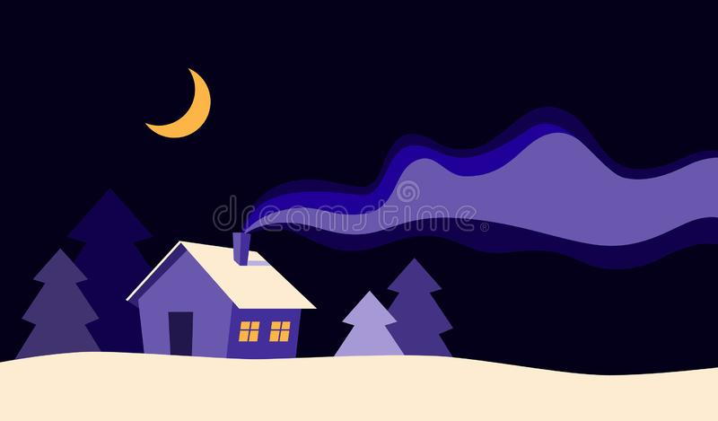 Beautiful house at night in winter season flat cartoon style background vector illustration. Merry Christmas and happy. New year card with snowy forest royalty free illustration