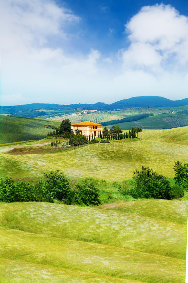 Beautiful house in Tuscany landscape, Italy royalty free stock images