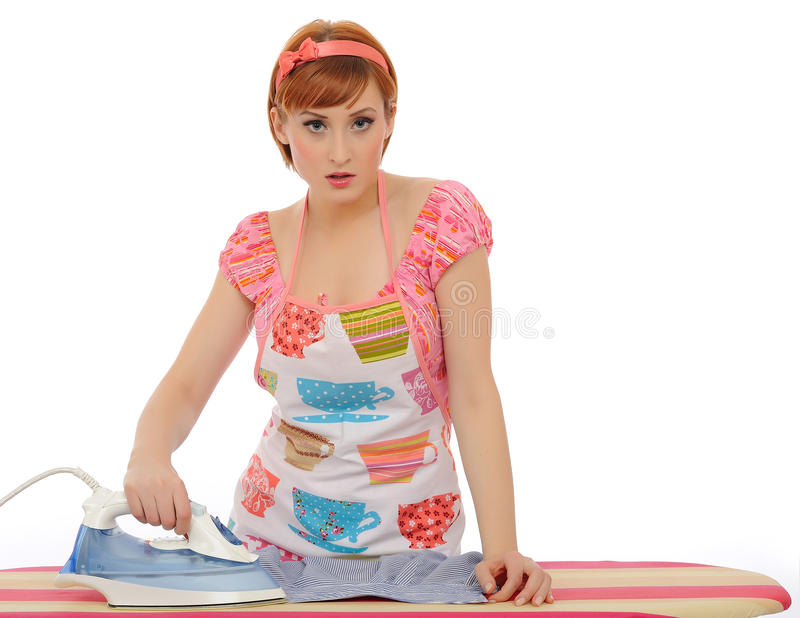 Beautiful House Woman Ironing Mens Shirt Stock Image