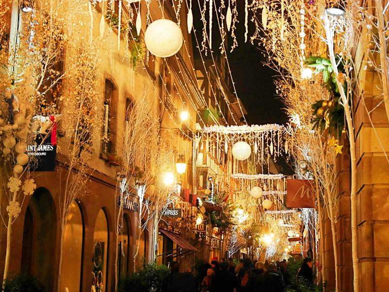 Beautiful houses in Europe. Streets decorated for the holiday, decorated houses, angels at home, beautiful scenery, racy European houses, beautiful city stock photo