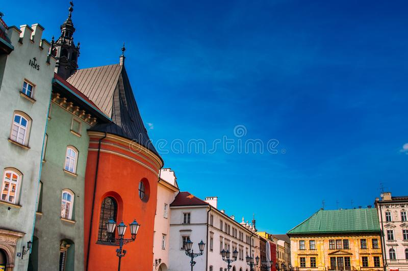 Beautiful houses on Krakow small market square. Poland stock photo
