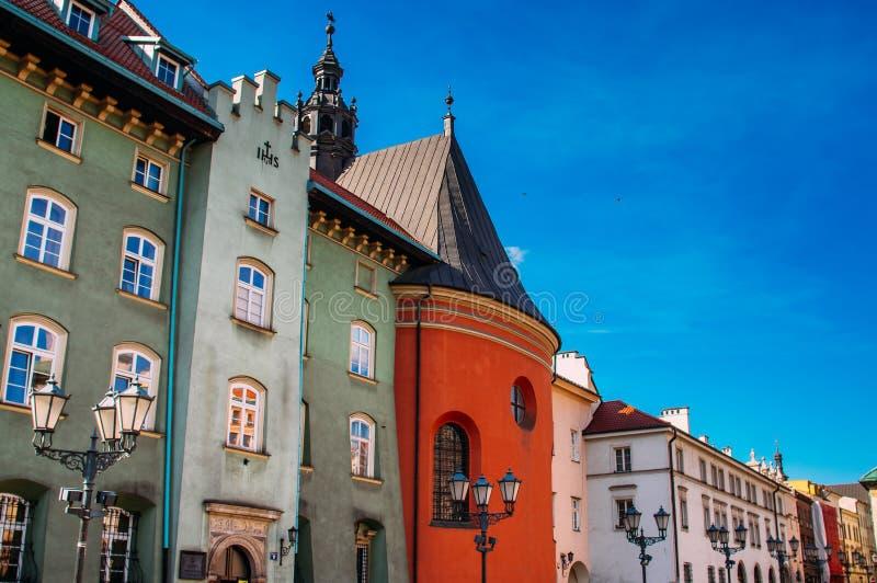 Beautiful houses on Krakow small market square. Poland royalty free stock photography