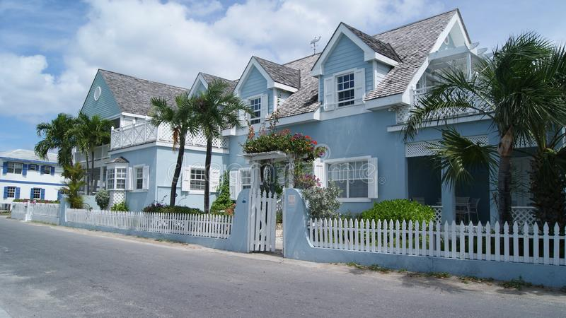 HARBOUR ISLAND, ELEUTHERA, BAHAMAS - MARCH 12, 2017. Blue house in the street stock photos