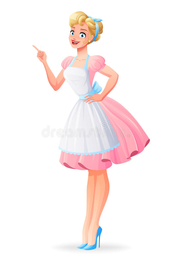 Beautiful housewife in pink dress finger point up. Vector illustration. Beautiful housewife in pink dress and apron smiling and finger pointing. Cartoon style stock illustration