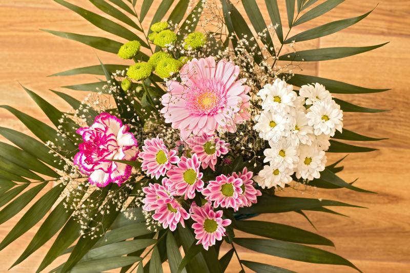 Beautiful huge bouquet made out of variuos species of flowers. Ideal gift for Valentine royalty free stock photos