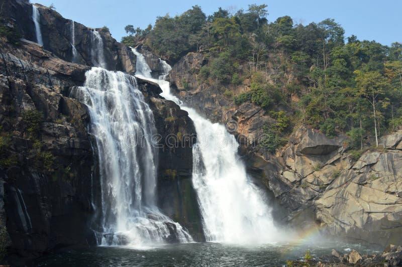 Beautiful huge Hundru waterfall of Ranchi ,india. Beautiful cascade with huge white water bodies, the massive Hundru waterfall of ranchi, it is the 34th highest stock photo