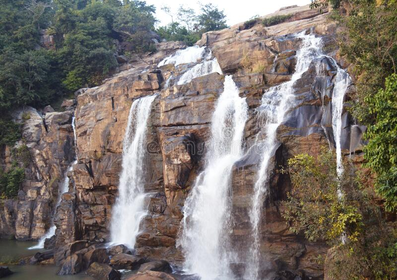 Beautiful huge jonha waterfall of Ranchi ,india. Beautiful cascade with huge white water bodies, the massive jonha waterfall of ranchi, it is the it is the one royalty free stock images