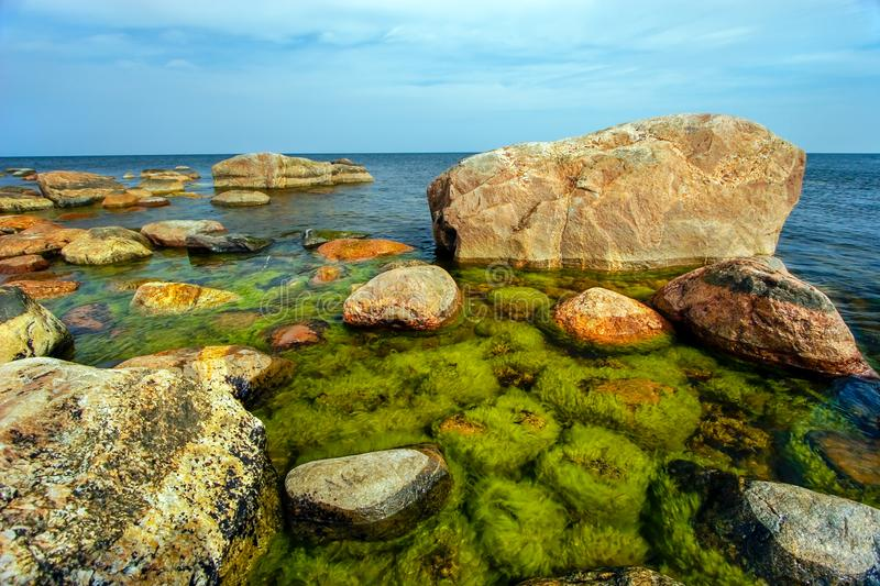 Beautiful huge stones in the sea with small stones under water overgrown with green algae in the Gulf of Finland. The sky with clouds but the sea is calm stock images