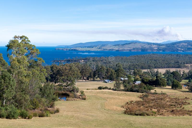 Wide view over the Huon Valley, Tasmania royalty free stock image