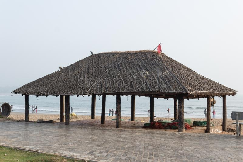 Resting place hut in Rushikonda beach, Visakhapatnam, India. A beautiful hut for relaxation along seaside in Rushikonda beach, Visakhapatnam, India stock photos