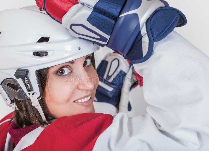 Beautiful ice hockey female player fashion portrait stock photos