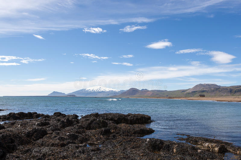 Beautiful Iceland landscape with white glacier. royalty free stock images