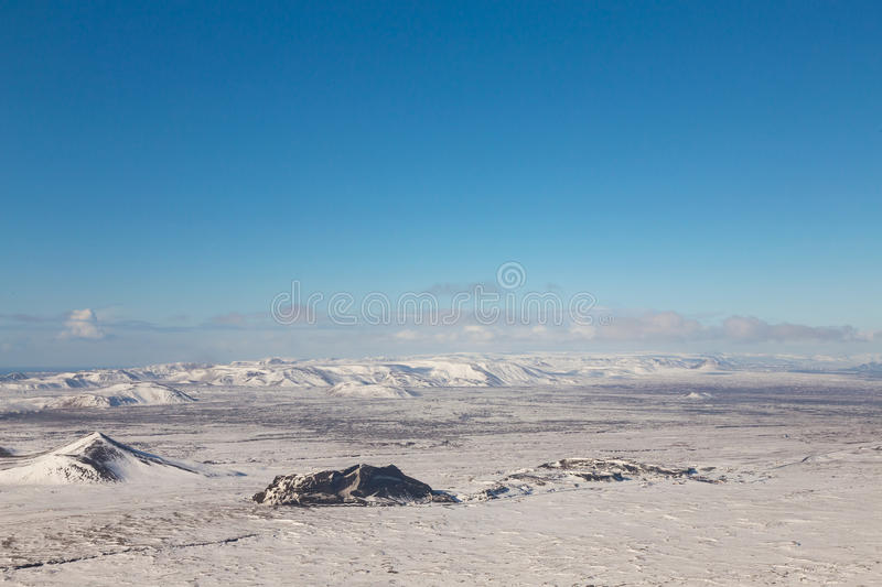 Beautiful Iceland winter season natural mountain landscape. With clear blue sky background royalty free stock photos