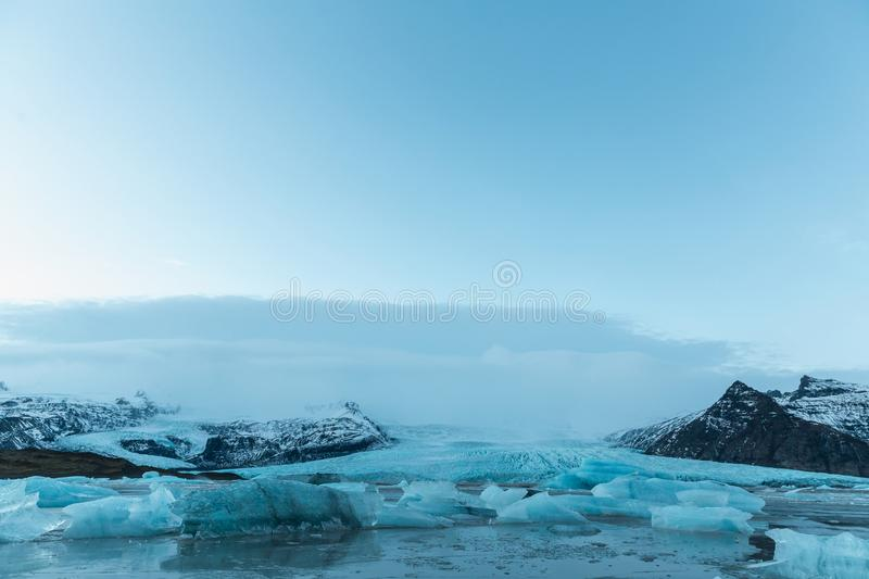 beautiful icelandic landscape with melting icebergs in cold water, Iceland, stock image
