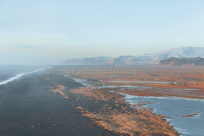 Beautiful icelandic landscape with wavy ocean and mountains, vik dyrholaey, reynisfjara. Beach, iceland stock photo