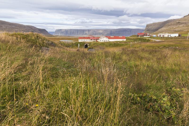Beautiful icelandic scenic landscape and houses, west fjords, Iceland royalty free stock images