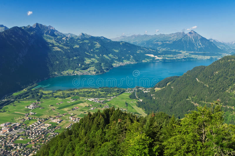 Beautiful idyllic Alps landscape with lake and mountains in summer stock photos