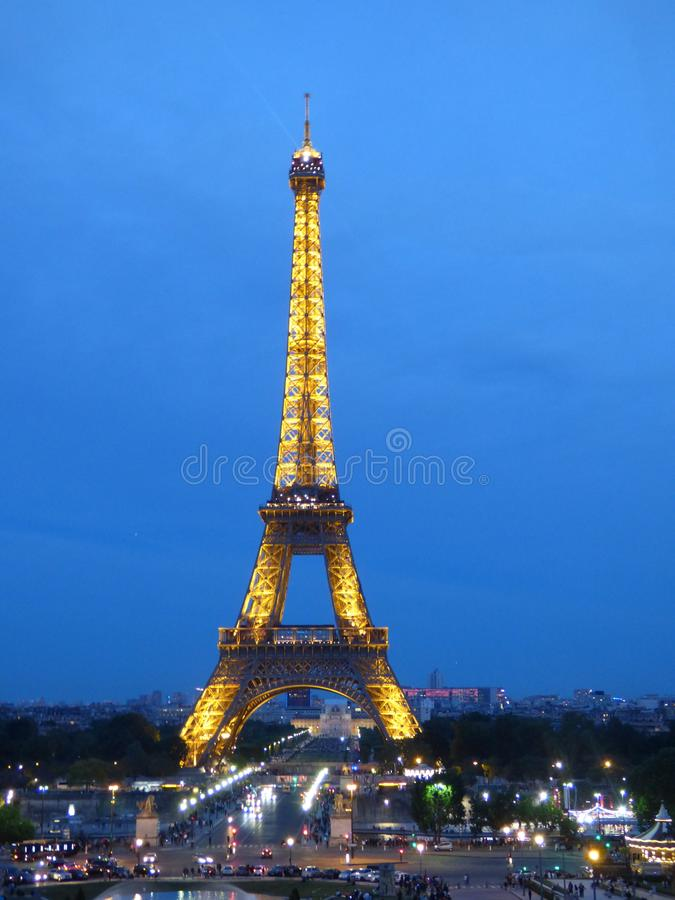 Eiffel Tower at night stock photo