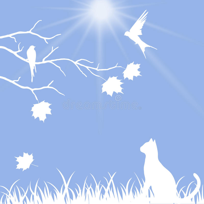 Beautiful illustration with a cat stock illustration
