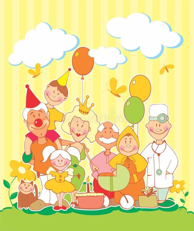 Beautiful illustration of the family stock illustration