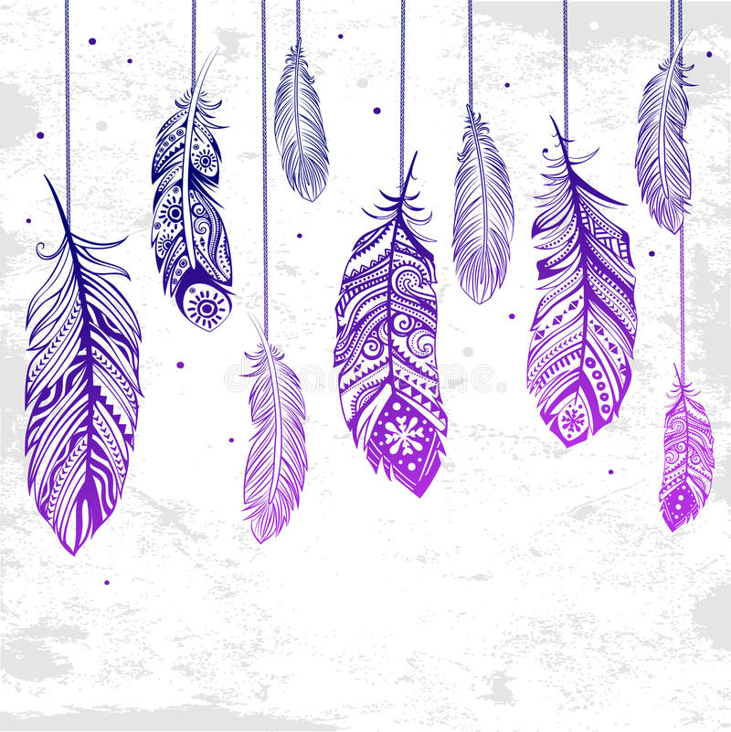 Beautiful illustration of feathers stock illustration