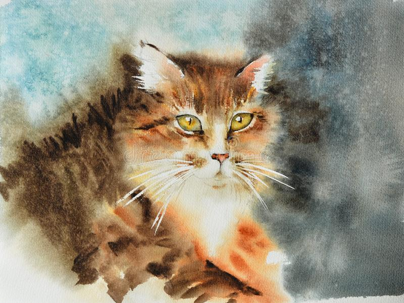 Beautiful illustration of a fluffy striped multicolor cat with yellow eyes and white mustache. Watercolor royalty free illustration