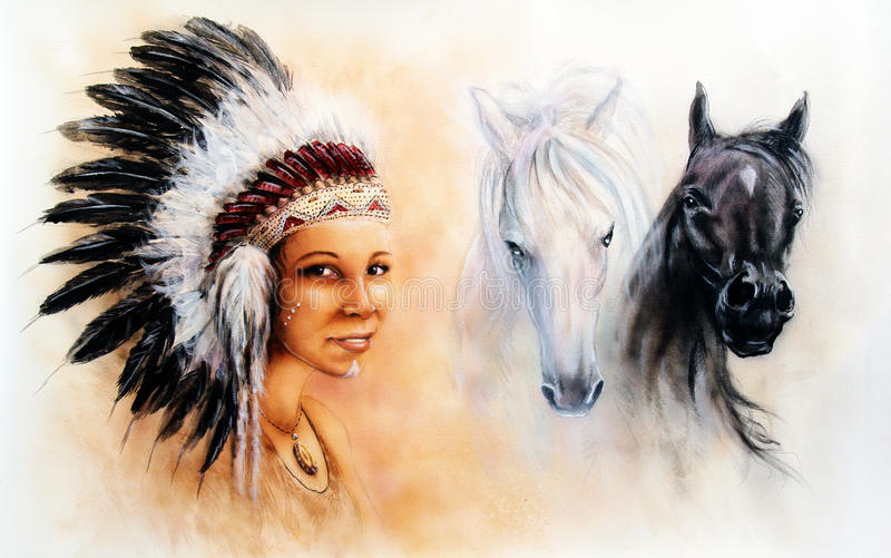 Beautiful illustration painting of a young indian woman and horses stock illustration