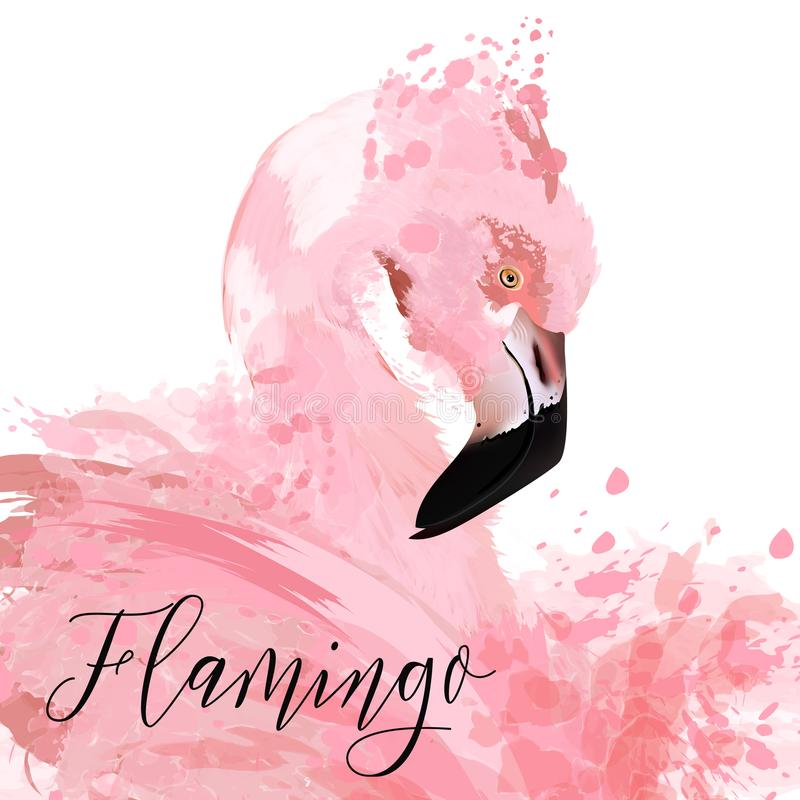 Beautiful illustration with pink flaming painted by vector ink s stock illustration